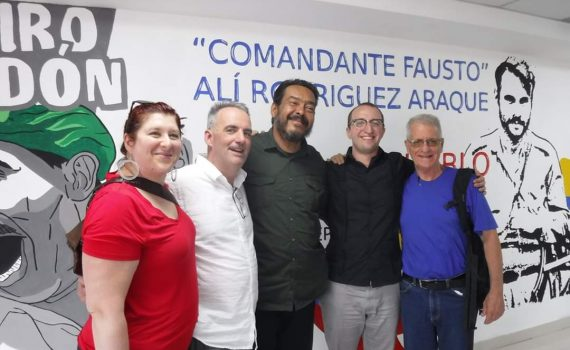 The delegation from Freedom Road Socialist Organization (FRSO) with Venezuelan trade union leader Jacobo Torres.